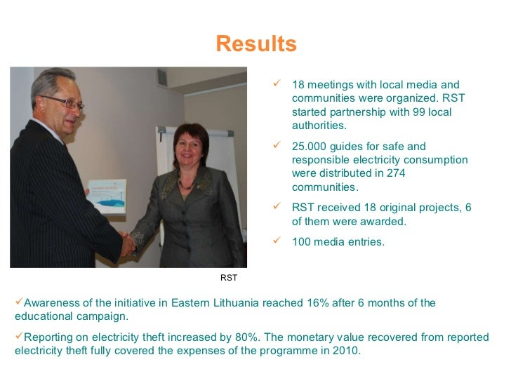 Results <ul><li>18 meetings with local media and communities were organized. RST started partnership with 99 local authori...