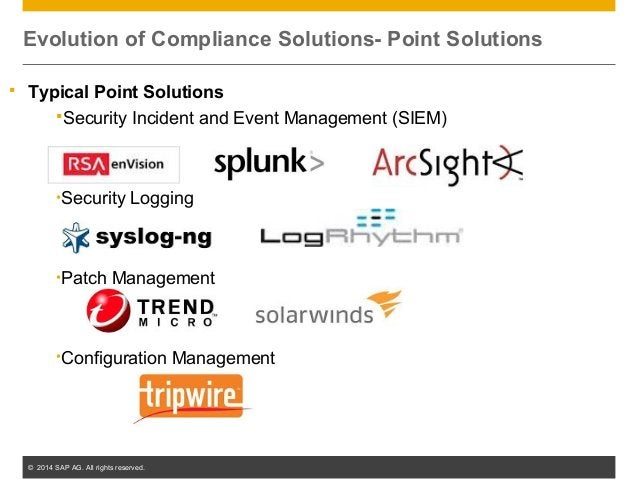 © 2014 SAP AG. All rights reserved. 10  Typical Point Solutions Security Incident and Event Management (SIEM) •Security ...
