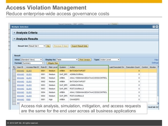 © 2014 SAP AG. All rights reserved. 20 Access Violation Management Reduce enterprise-wide access governance costs Access r...