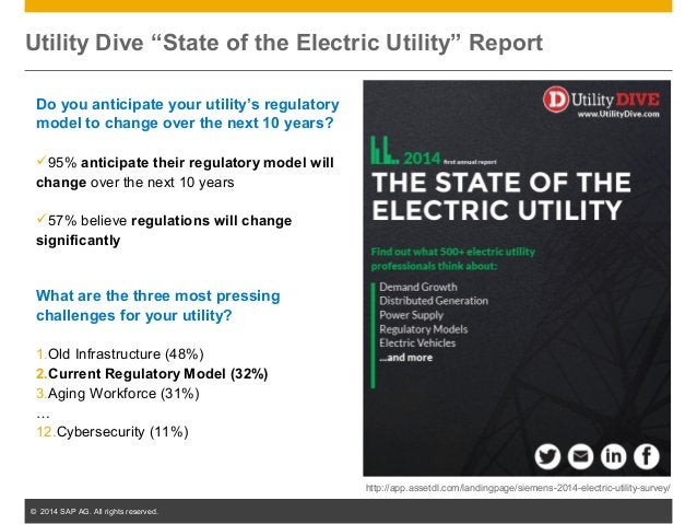 """© 2014 SAP AG. All rights reserved. 30 Utility Dive """"State of the Electric Utility"""" Report Do you anticipate your utility'..."""