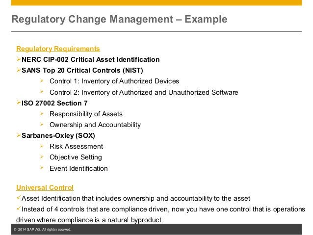 © 2014 SAP AG. All rights reserved. 35 Regulatory Change Management – Example Regulatory Requirements NERC CIP-002 Critic...