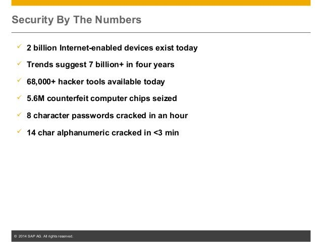 © 2014 SAP AG. All rights reserved. 4 Security By The Numbers  2 billion Internet-enabled devices exist today  Trends su...