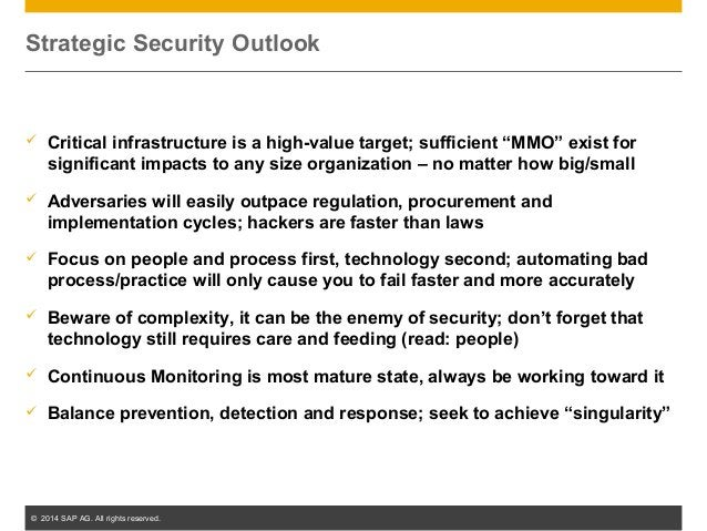 """© 2014 SAP AG. All rights reserved. 8  Critical infrastructure is a high-value target; sufficient """"MMO"""" exist for signifi..."""
