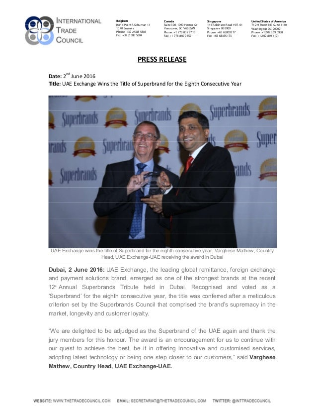 UAE Exchange Wins the Title of Superbrand for the Eighth Consecutive …