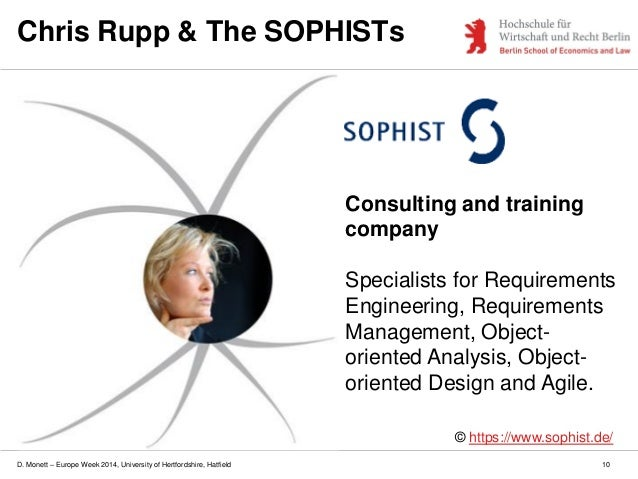 D. Monett – Europe Week 2014, University of Hertfordshire, Hatfield Chris Rupp & The SOPHISTs © https://www.sophist.de/ Co...