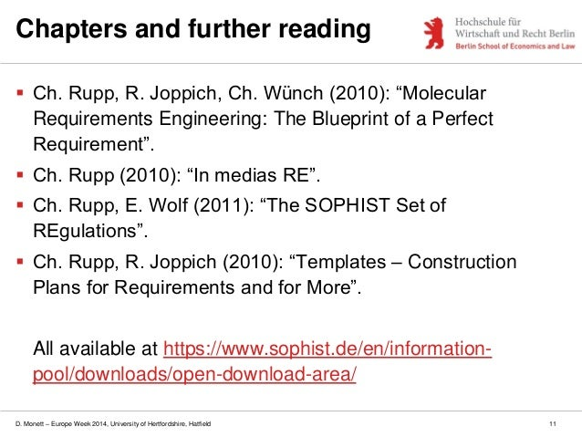 D. Monett – Europe Week 2014, University of Hertfordshire, Hatfield Chapters and further reading  Ch. Rupp, R. Joppich, C...