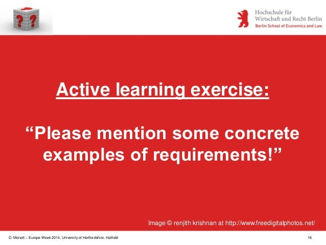 """D. Monett – Europe Week 2014, University of Hertfordshire, Hatfield 16 Active learning exercise: """"Please mention some conc..."""