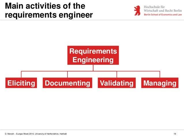 D. Monett – Europe Week 2014, University of Hertfordshire, Hatfield 19 Main activities of the requirements engineer Elicit...