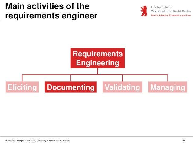 D. Monett – Europe Week 2014, University of Hertfordshire, Hatfield 20 Main activities of the requirements engineer Elicit...