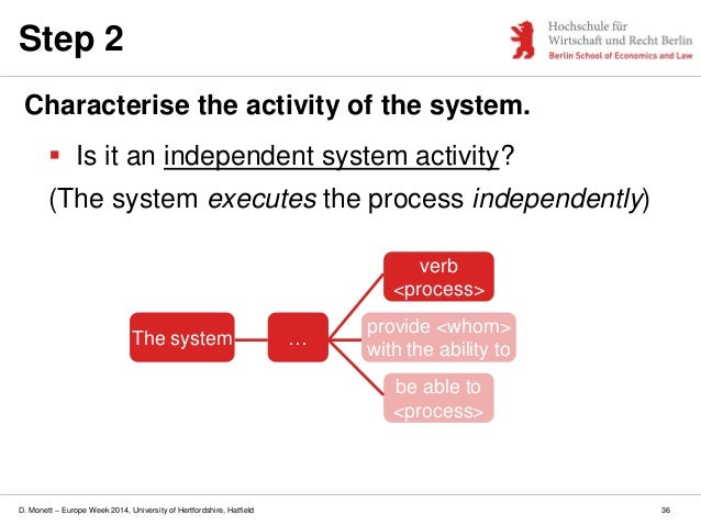 D. Monett – Europe Week 2014, University of Hertfordshire, Hatfield Step 2 Characterise the activity of the system.  Is i...