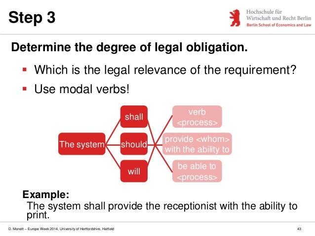 D. Monett – Europe Week 2014, University of Hertfordshire, Hatfield Step 3 Determine the degree of legal obligation.  Whi...