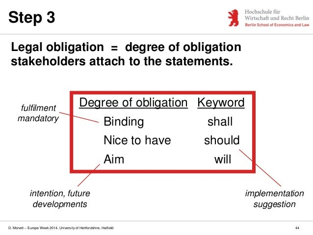 D. Monett – Europe Week 2014, University of Hertfordshire, Hatfield Step 3 Legal obligation = degree of obligation stakeho...