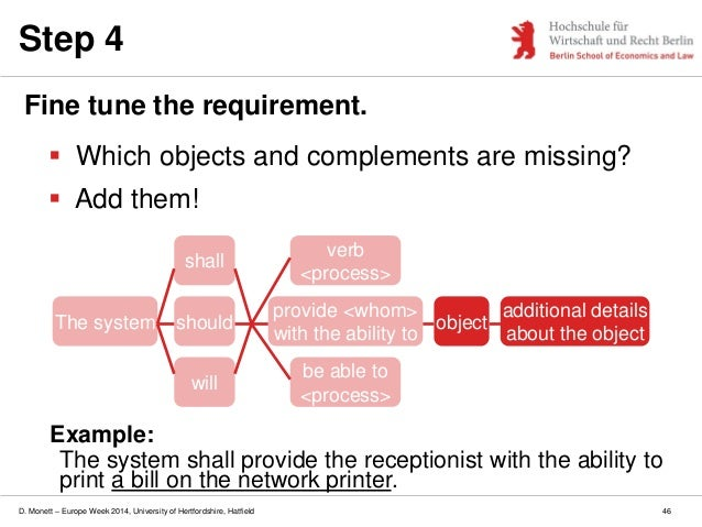 D. Monett – Europe Week 2014, University of Hertfordshire, Hatfield Step 4 Fine tune the requirement.  Which objects and ...