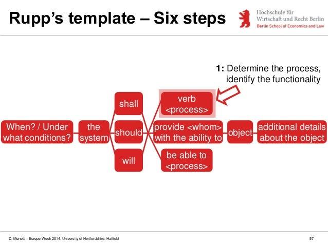 D. Monett – Europe Week 2014, University of Hertfordshire, Hatfield Rupp's template – Six steps the system should provide ...
