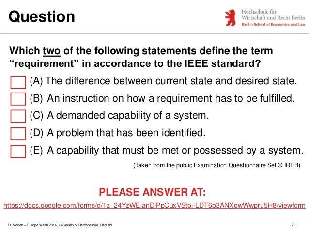 D. Monett – Europe Week 2014, University of Hertfordshire, Hatfield Question 72 (Taken from the public Examination Questio...