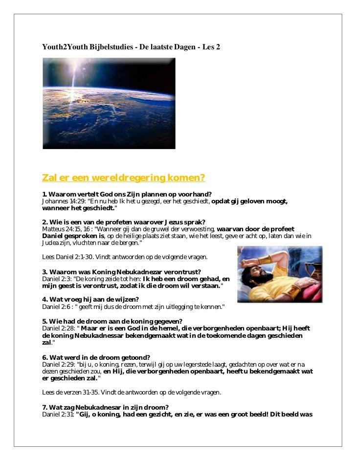 Youth2Youth Bijbelstudies - De laatste Dagen - Les 2Zal er een wereldregering komen?1. Waarom vertelt God ons Zijn plannen...