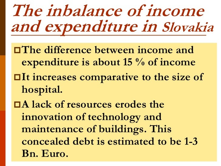 The inbalance of incomeand expenditure in Slovakia The  difference between income and  expenditure is about 15 % of incom...