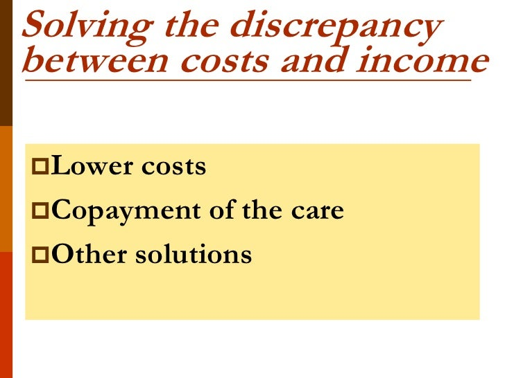 Solving the discrepancybetween costs and incomeLower costsCopayment of the careOther solutions