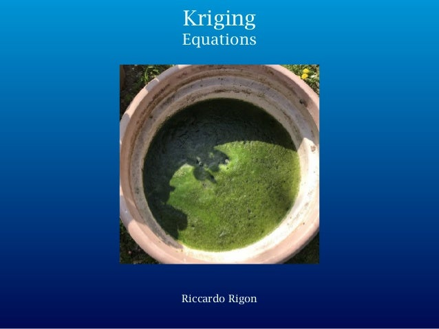 Riccardo Rigon Kriging Equations