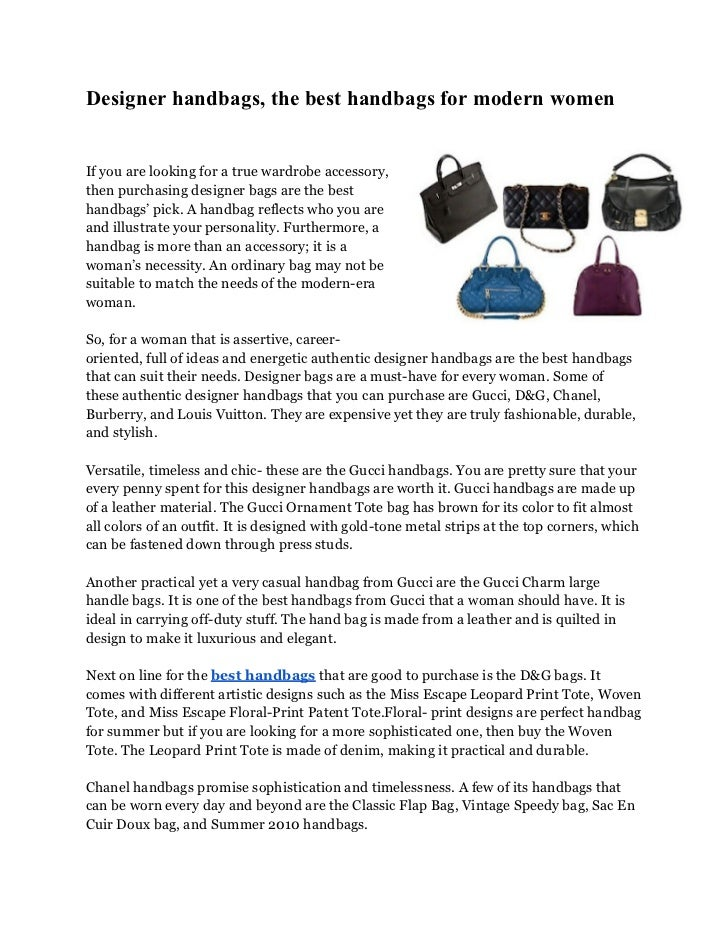 Designer handbags, the best handbags for modern womenIf you are looking for a true wardrobe accessory,then purchasing desi...