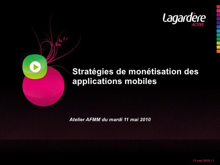 Stratégies de monétisation des applications mobiles Atelier AFMM du mardi 11 mai 2010
