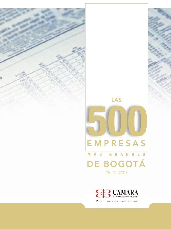 2 las 500 empresas mas grandes de bogota en el 2005 for Empresas de jardineria bogota