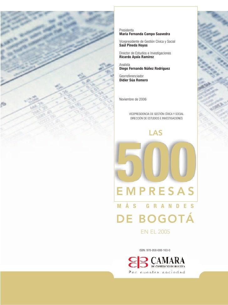 2 las 500 empresas mas grandes de bogota en el 2005 for Empresas de construccion en bogota