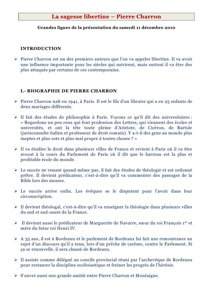2 - La sagesse libertine - Pierre Charron