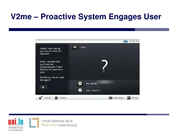 V2me – Proactive System Engages User
