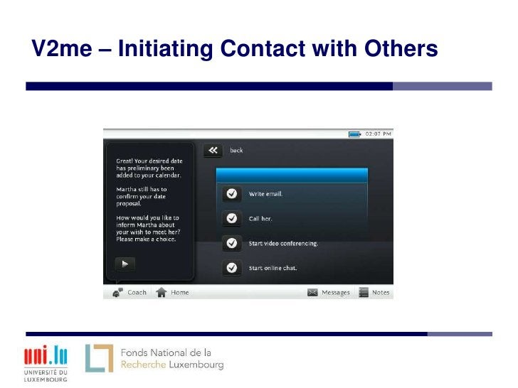 V2me – Initiating Contact with Others