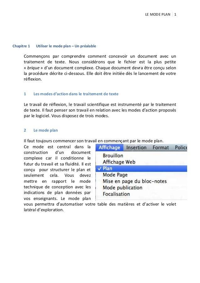 LE MODE PLAN 1  Chapitre 1  Utiliser le mode plan – Un préalable  Commençons par comprendre comment concevoir un document ...