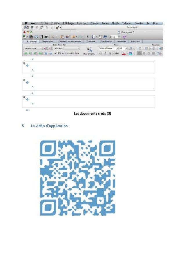 Les documents créés (3)  5  La vidéo d'application