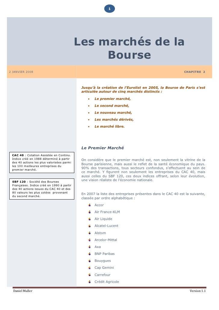 1                                                 Les marchés de la                                                  Bours...