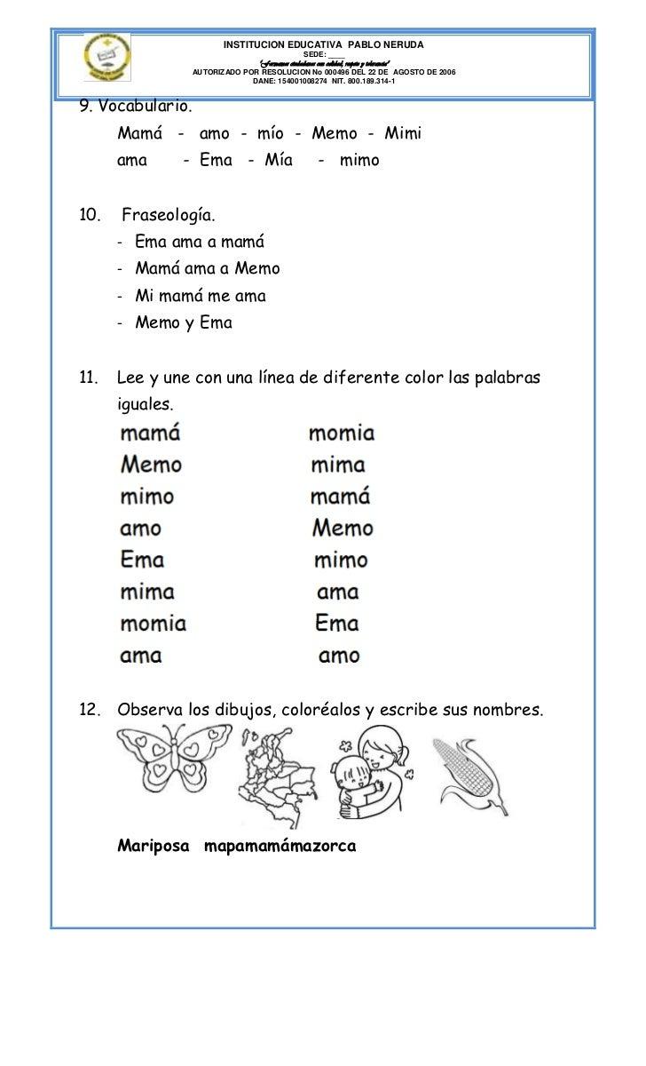 """INSTITUCION EDUCATIVA PABLO NERUDA                                              SEDE: ____                               """"..."""