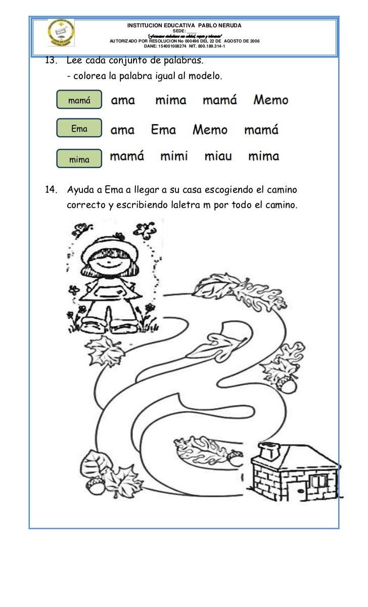 """INSTITUCION EDUCATIVA PABLO NERUDA                                           SEDE: ____                            """"Formam..."""