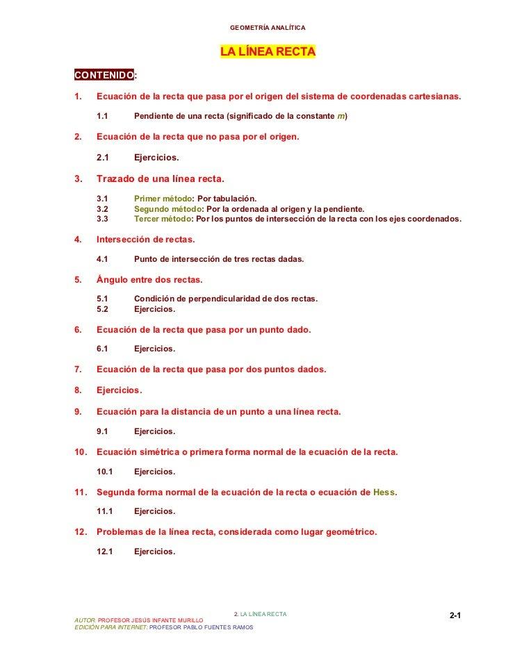 GEOMETRÍA ANALÍTICA                                           LA LÍNEA RECTACONTENIDO:1.    Ecuación de la recta que pasa ...