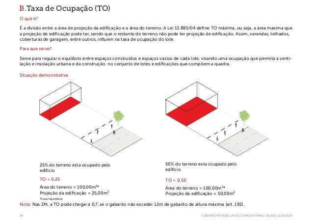 34 CADERNO REVISÃO LPUOS 13.885/04 SMDU/ DEUSO| 11.08.2014 B.Taxa de Ocupação (TO) O que é? É a divisão entre a área de pr...