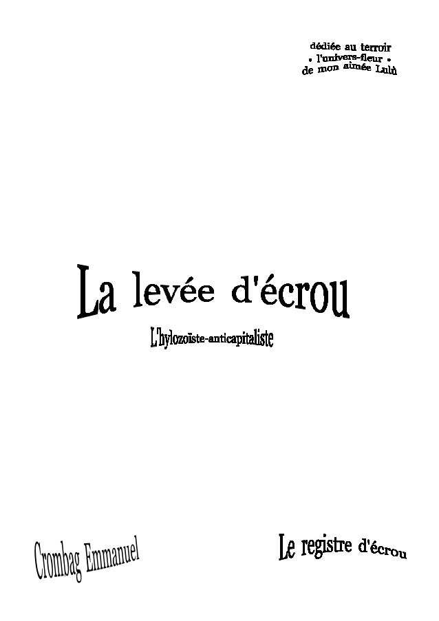 Introduction à - La levée d'écrou - Pub : N° hors série 