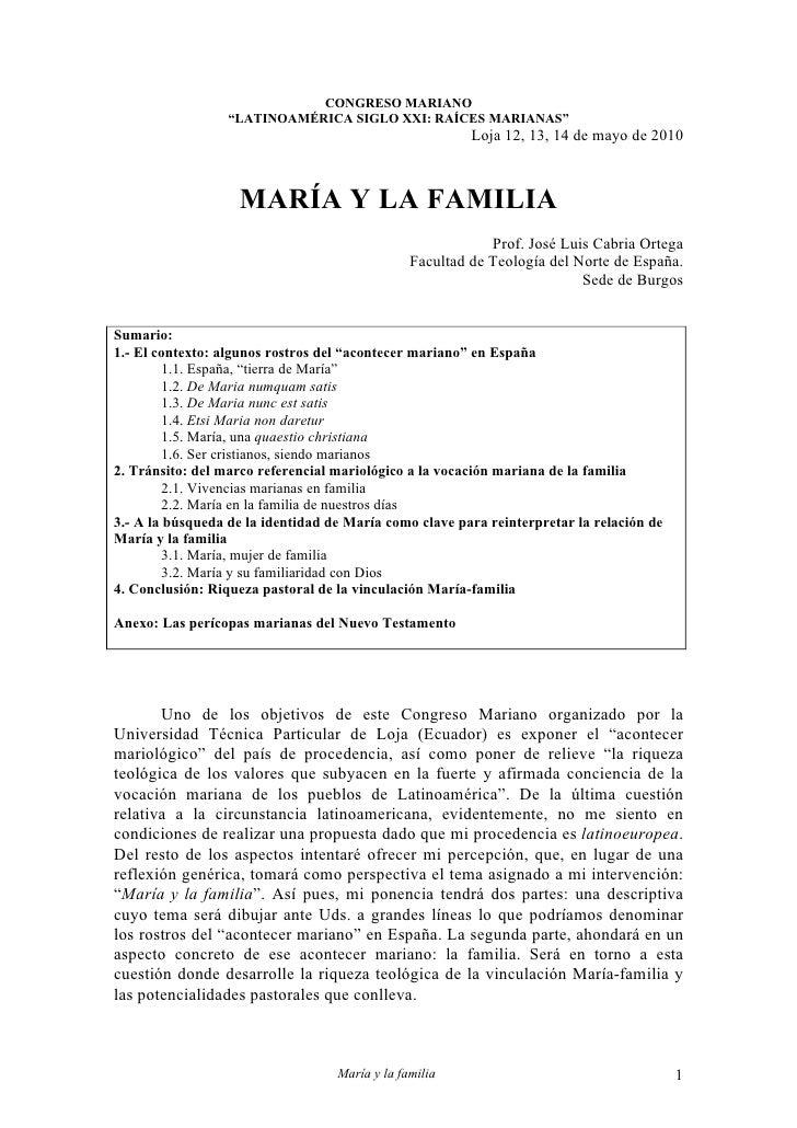Ponencia: María y la familia