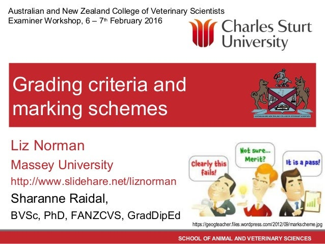 SCHOOL OF ANIMAL AND VETERINARY SCIENCES Grading criteria and marking schemes Liz Norman Massey University http://www.slid...