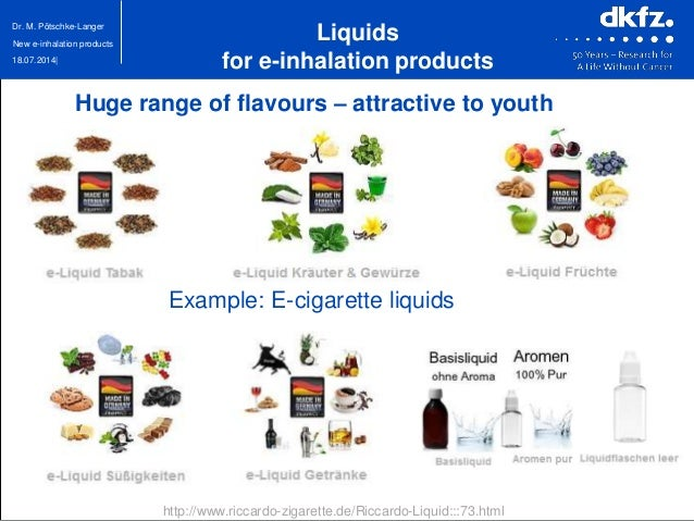 18.07.2014| Dr. M. Pötschke-Langer New e-inhalation products Huge range of flavours – attractive to youth Liquids for e-in...