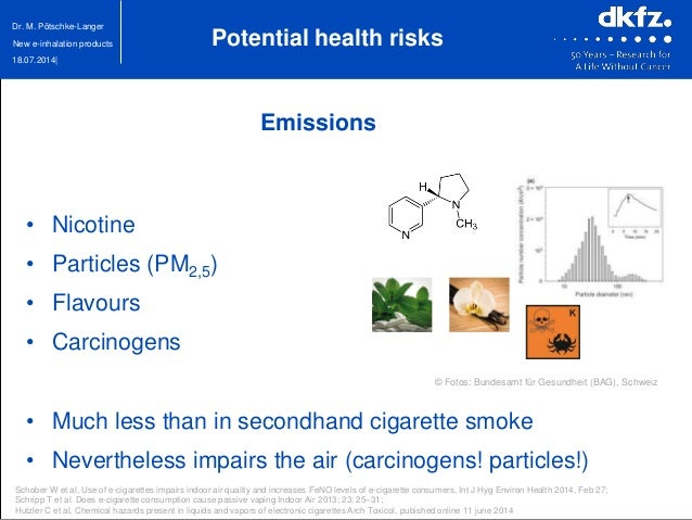 18.07.2014| Dr. M. Pötschke-Langer New e-inhalation products Emissions • Nicotine • Particles (PM2,5) • Flavours • Carcino...