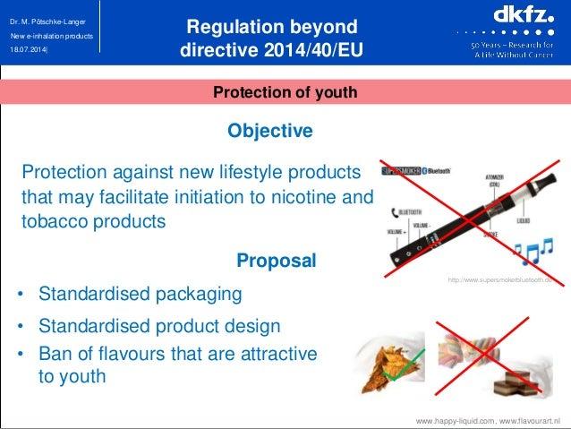 18.07.2014| Dr. M. Pötschke-Langer New e-inhalation products Proposal • Standardised packaging • Standardised product desi...