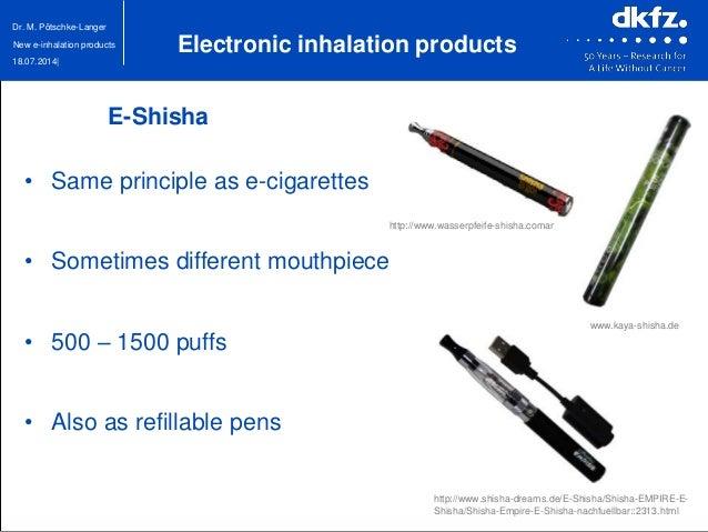 18.07.2014| Dr. M. Pötschke-Langer New e-inhalation products www.kaya-shisha.de • Same principle as e-cigarettes • Sometim...