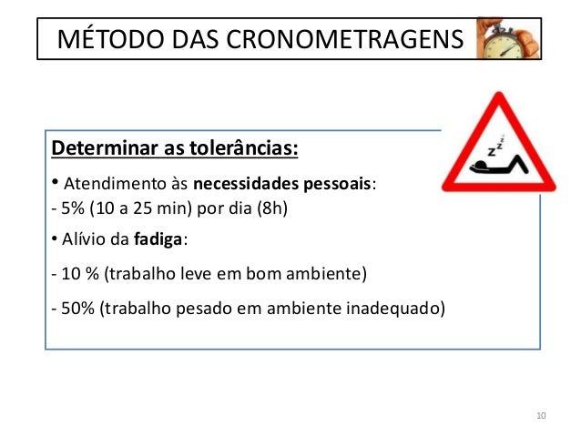 Determinar as tolerâncias: • Atendimento às necessidades pessoais: - 5% (10 a 25 min) por dia (8h) • Alívio da fadiga: - 1...