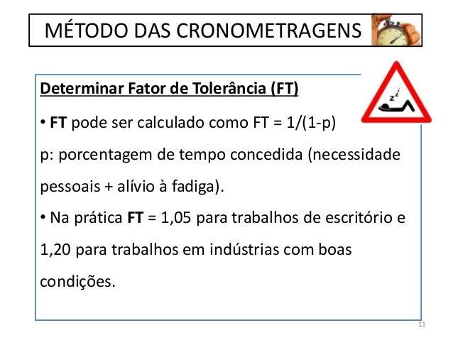 Determinar Fator de Tolerância (FT) • FT pode ser calculado como FT = 1/(1-p) p: porcentagem de tempo concedida (necessida...