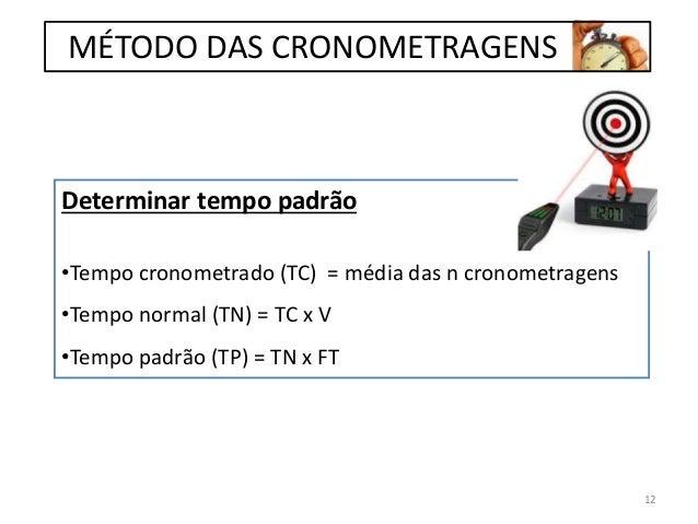 Determinar tempo padrão •Tempo cronometrado (TC) = média das n cronometragens •Tempo normal (TN) = TC x V •Tempo padrão (T...