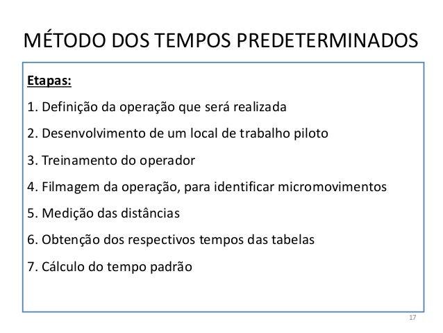 Etapas: 1. Definição da operação que será realizada 2. Desenvolvimento de um local de trabalho piloto 3. Treinamento do op...