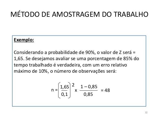 Exemplo: Considerando a probabilidade de 90%, o valor de Z será = 1,65. Se desejamos avaliar se uma porcentagem de 85% do ...