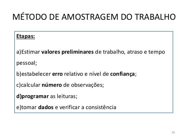Etapas: a)Estimar valores preliminares de trabalho, atraso e tempo pessoal; b)estabelecer erro relativo e nível de confian...